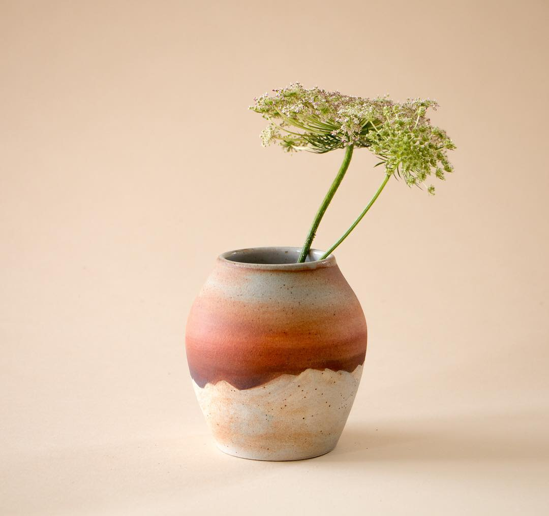 Handmade warm colored ceramic vase by Austin Creators