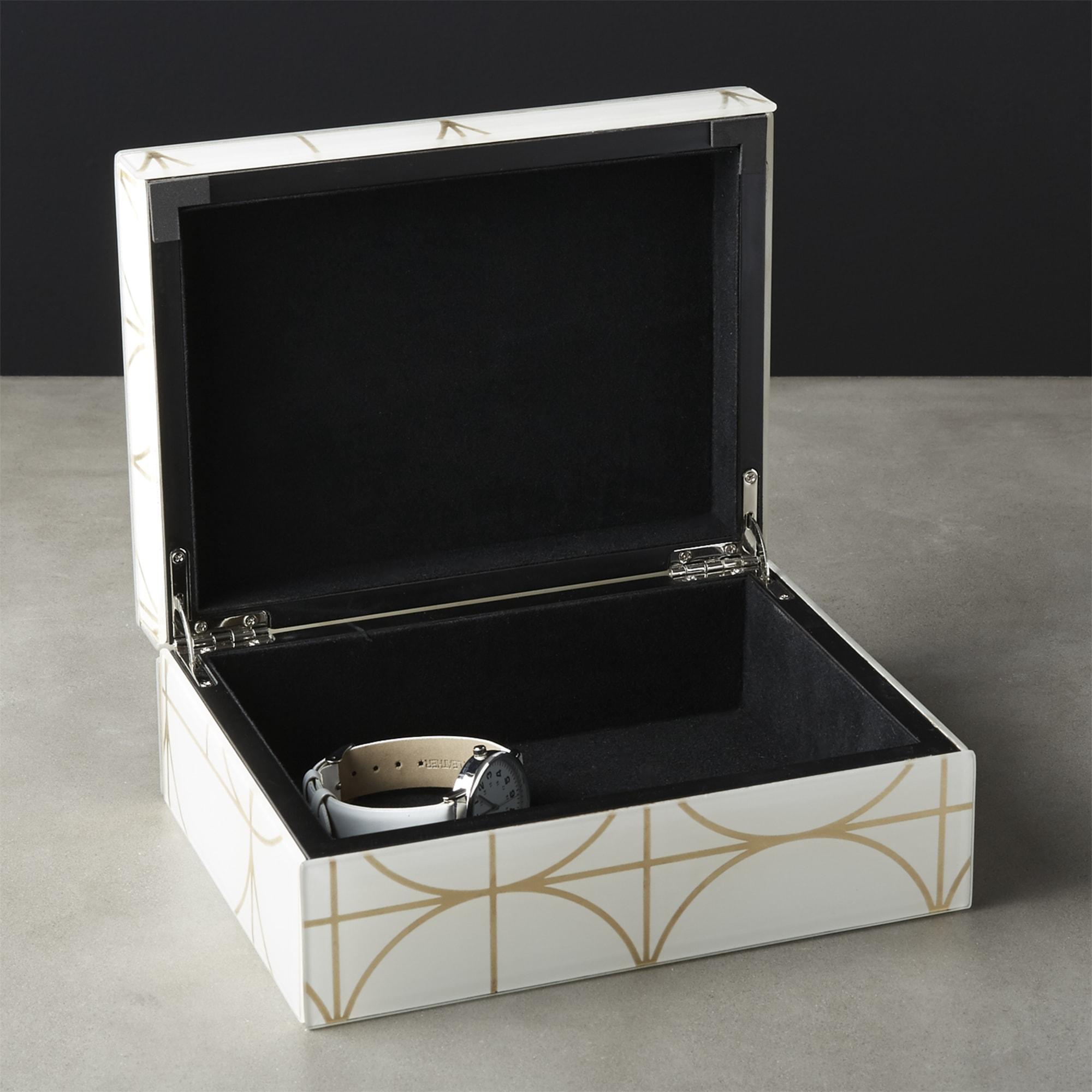 Tableware by Namavari seen at CB2, Berkeley - Circuit White and Gold Glass Jewelry Box