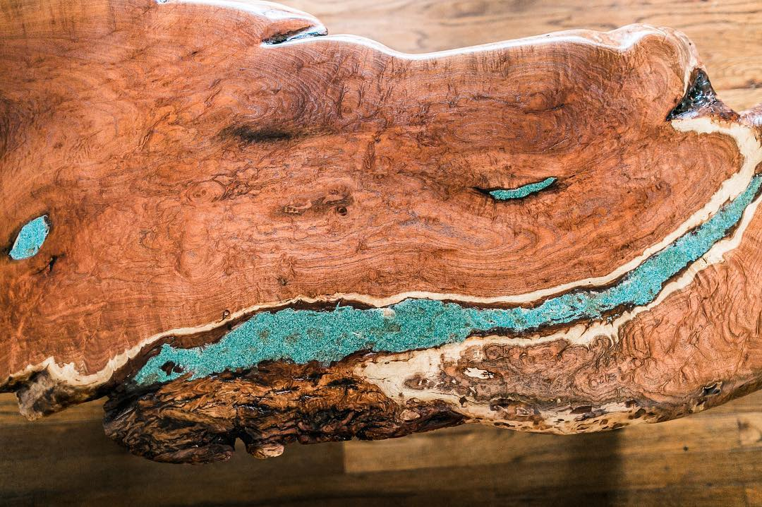 Live edge coffee table with resin