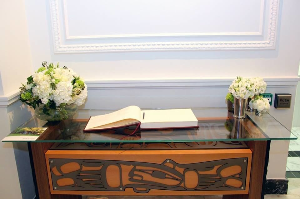 Tables by Sabina Hill seen at High Commission of Canada in the United Kingdom, London - Sign-in Table