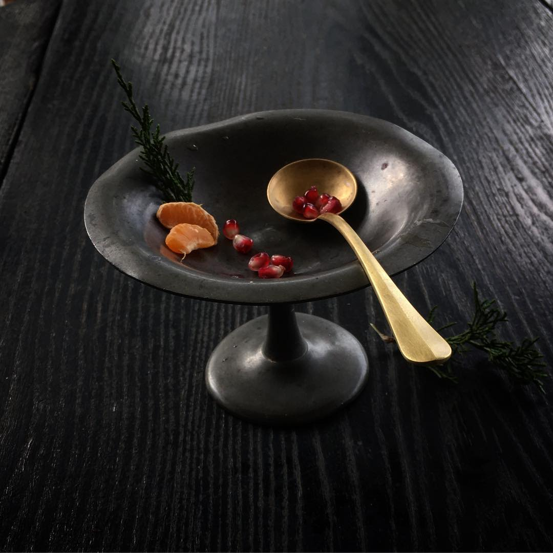 Curvaceous Brass Serving Spoon