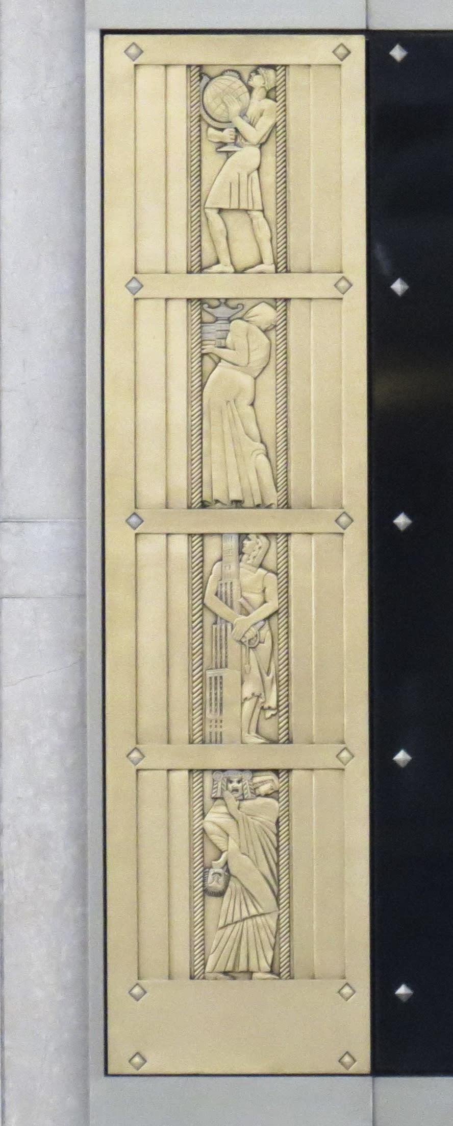 Public Sculptures by Lee Lawrie seen at 600 California, San Francisco - Elevator Doors Depicting Allegorical Figures