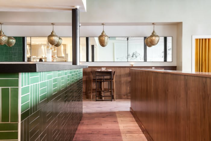 Tiles by Fire Clay Tile at Mister Jiu's, San Francisco - Parquet Tile in Sea Green