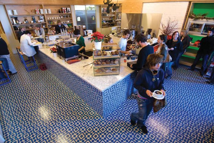 Blue white Lisbon tile pattern floor