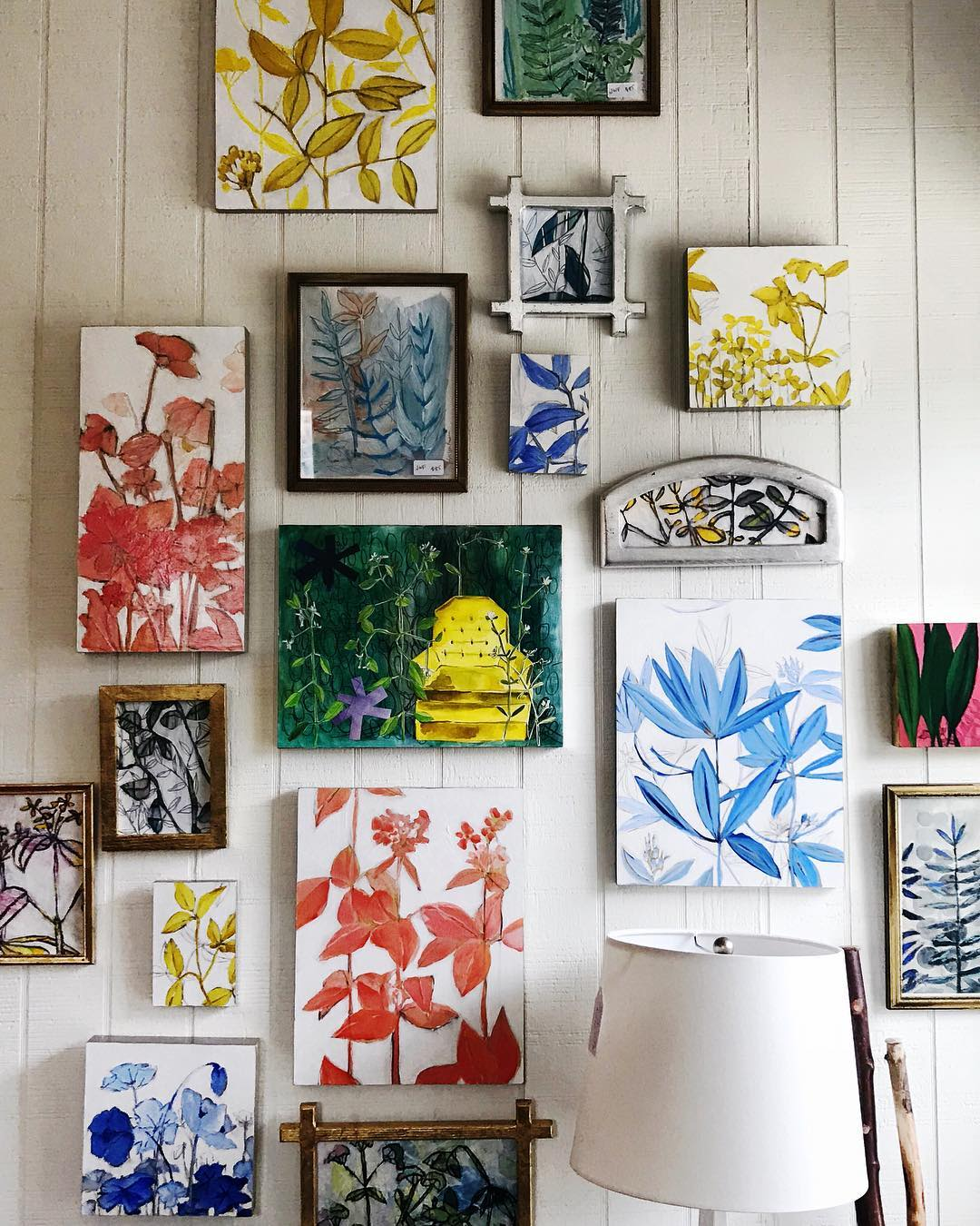 Multicolored floral and botanical paintings