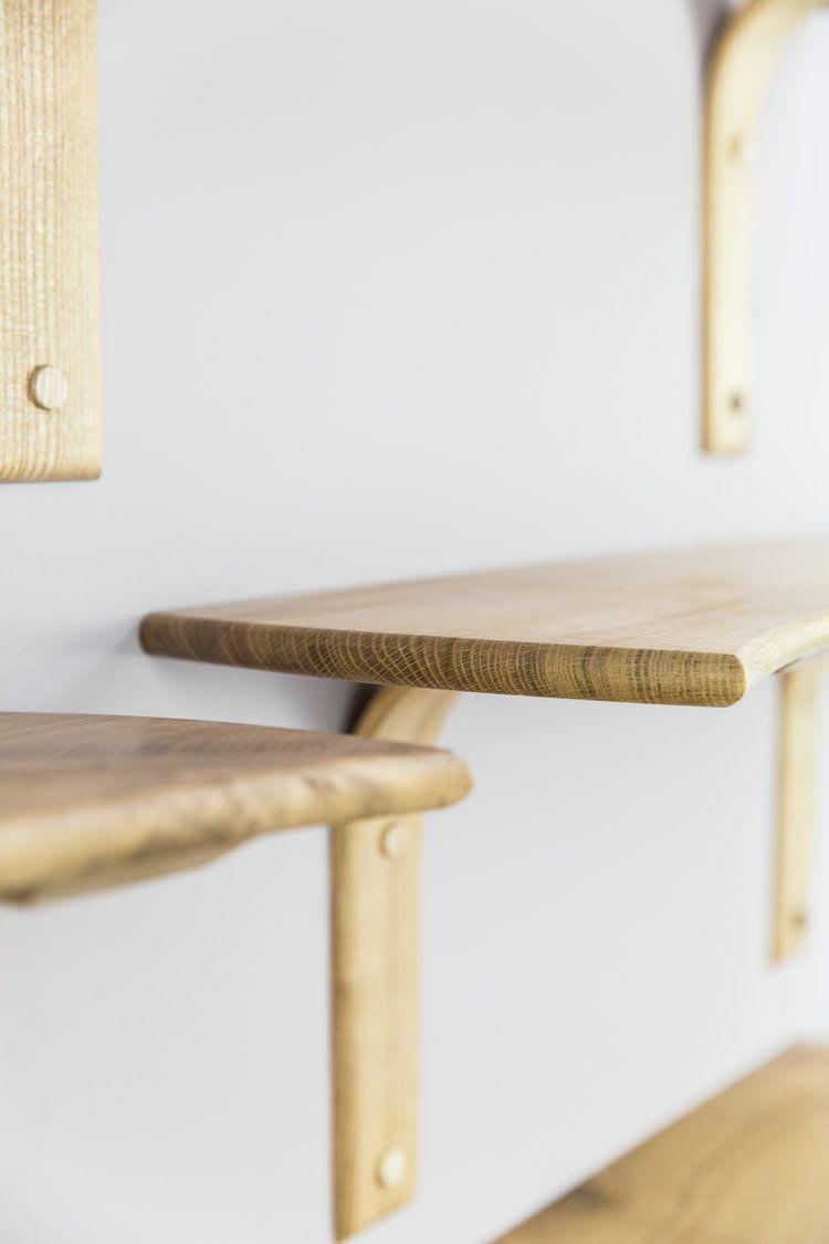 Minimal light wood shelves