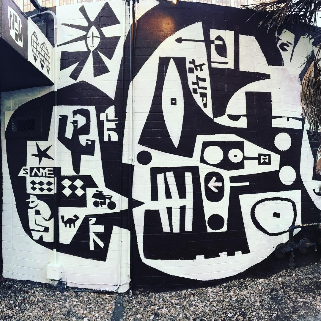 Black & White Mural by Brian Barneclo, Murals at Chambers, Night Club