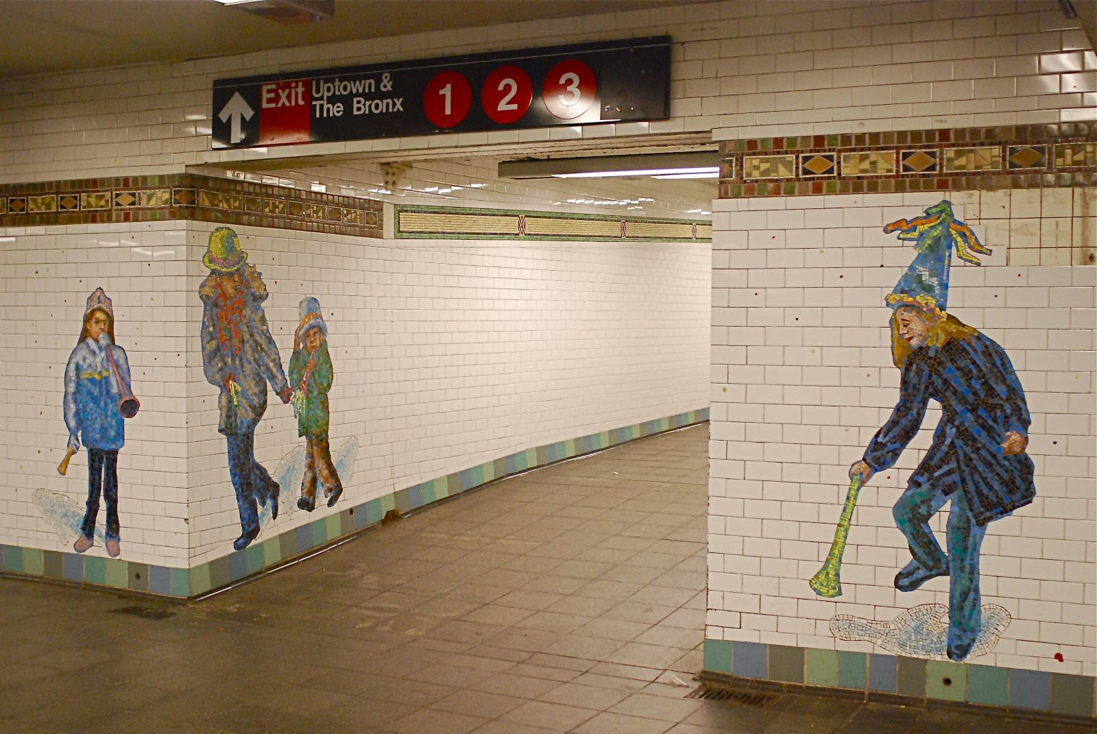 Public Mosaics by Jane Dickson seen at Times Square-42nd Street, New York - Revelers