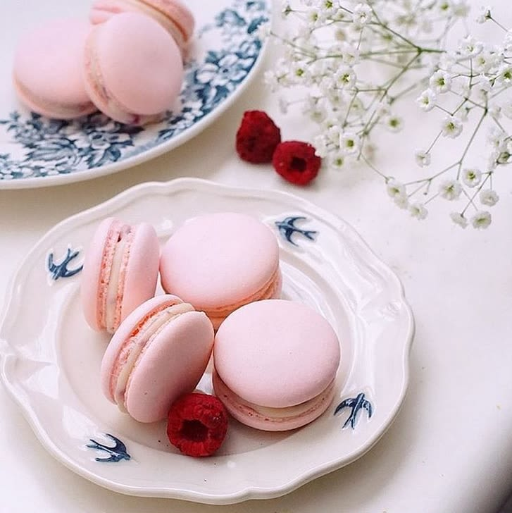 fancy painted plate with macaroons and raspberries