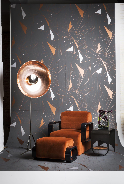 Orange velvet lounge chair