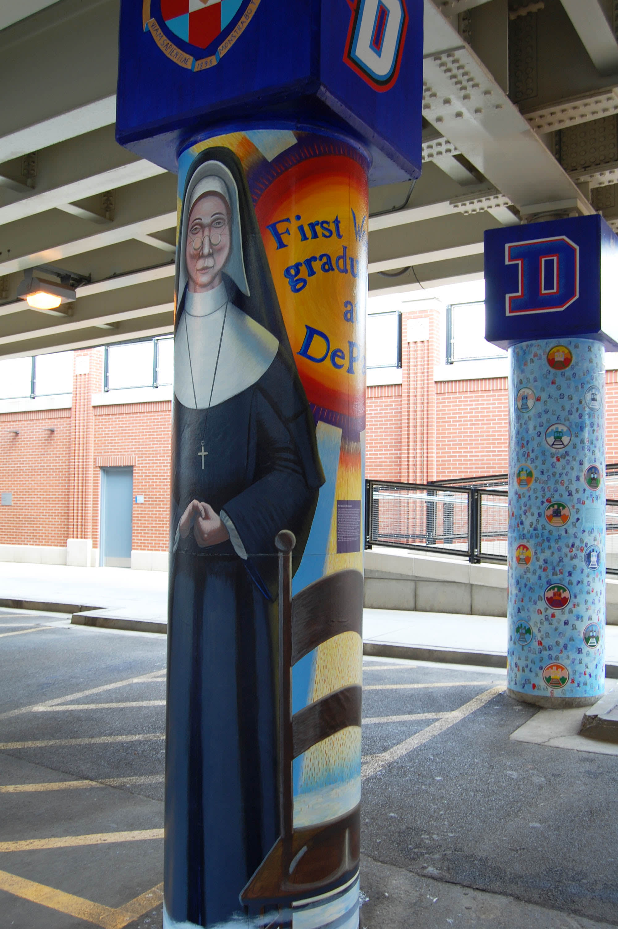 Murals by Mark Elder seen at DePaul University, Belden and Sheffield, Chicago IL, Chicago - The Story of the Little School Under the 'L', Under the 'L'