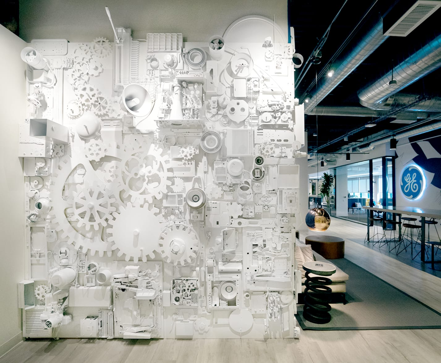 White Industrial Wall Sculpture with machine elements