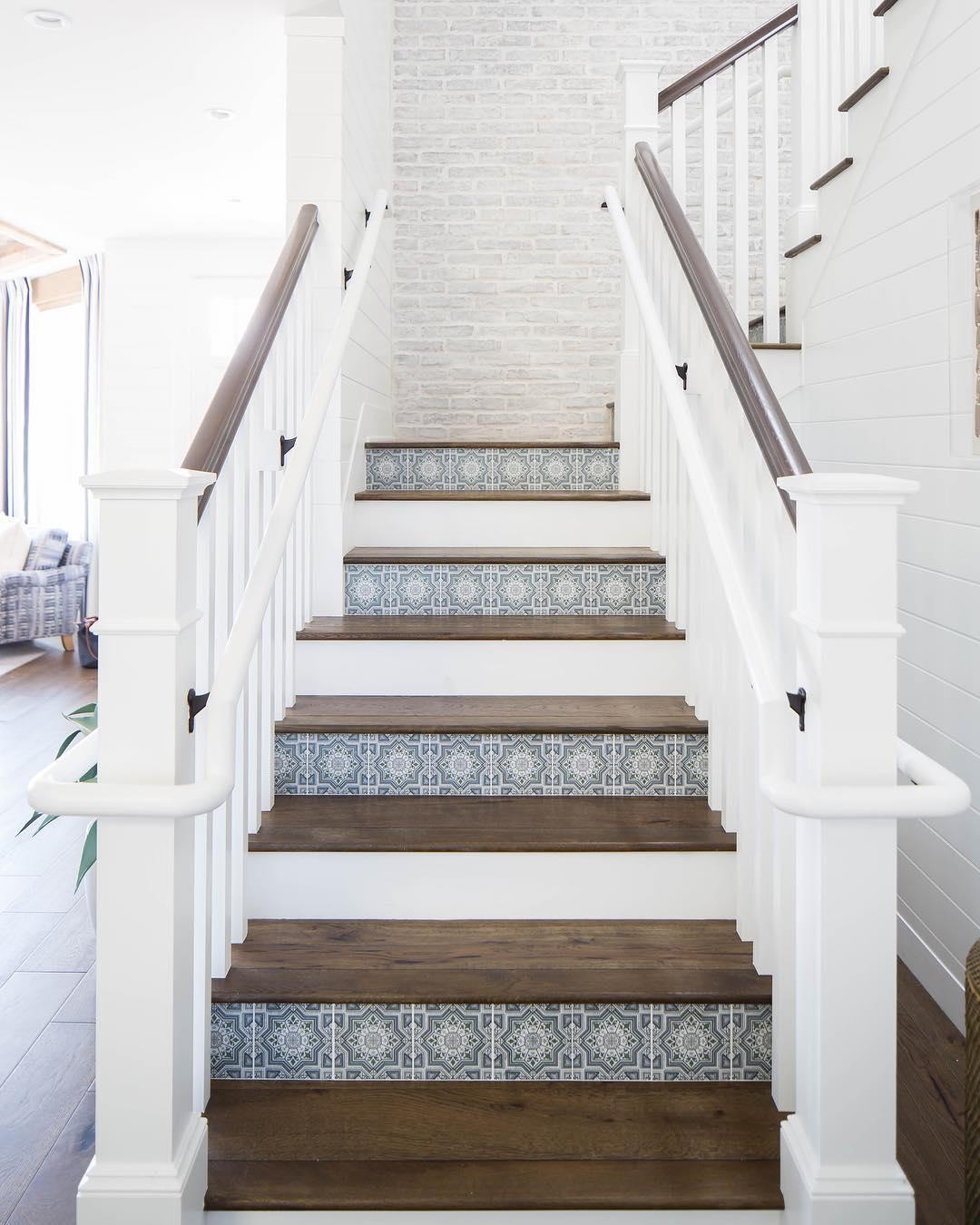 Light blue white medallion Lisbon tile stairs