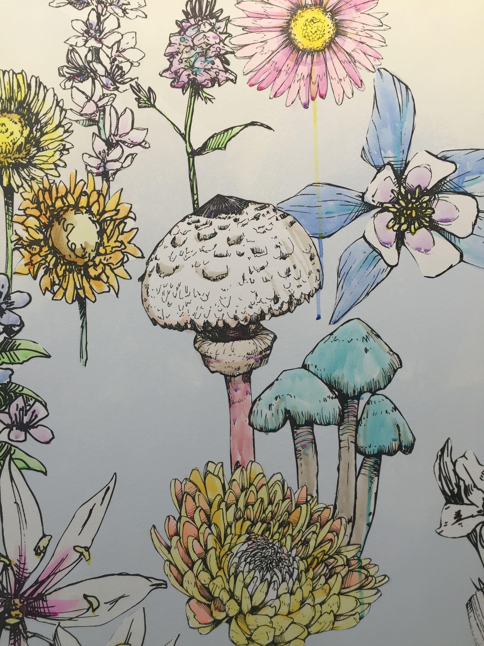 Murals by Sage Vaughn seen at Facebook, Playa Vista, Los Angeles - Flowers and Butterflies