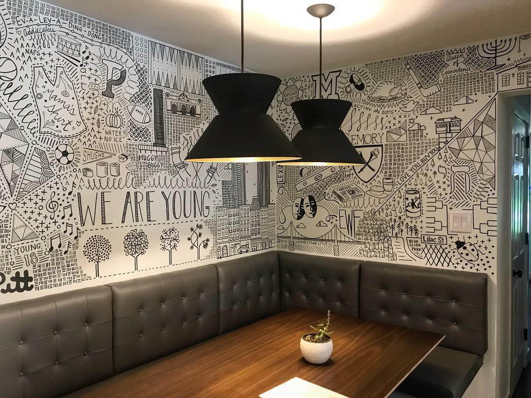 Murals by Kim Fox seen at Private Residence, Mount Lebanon - Young Family Mural