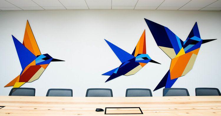 Colorful Geometric Hummingbird Wall Sculpture