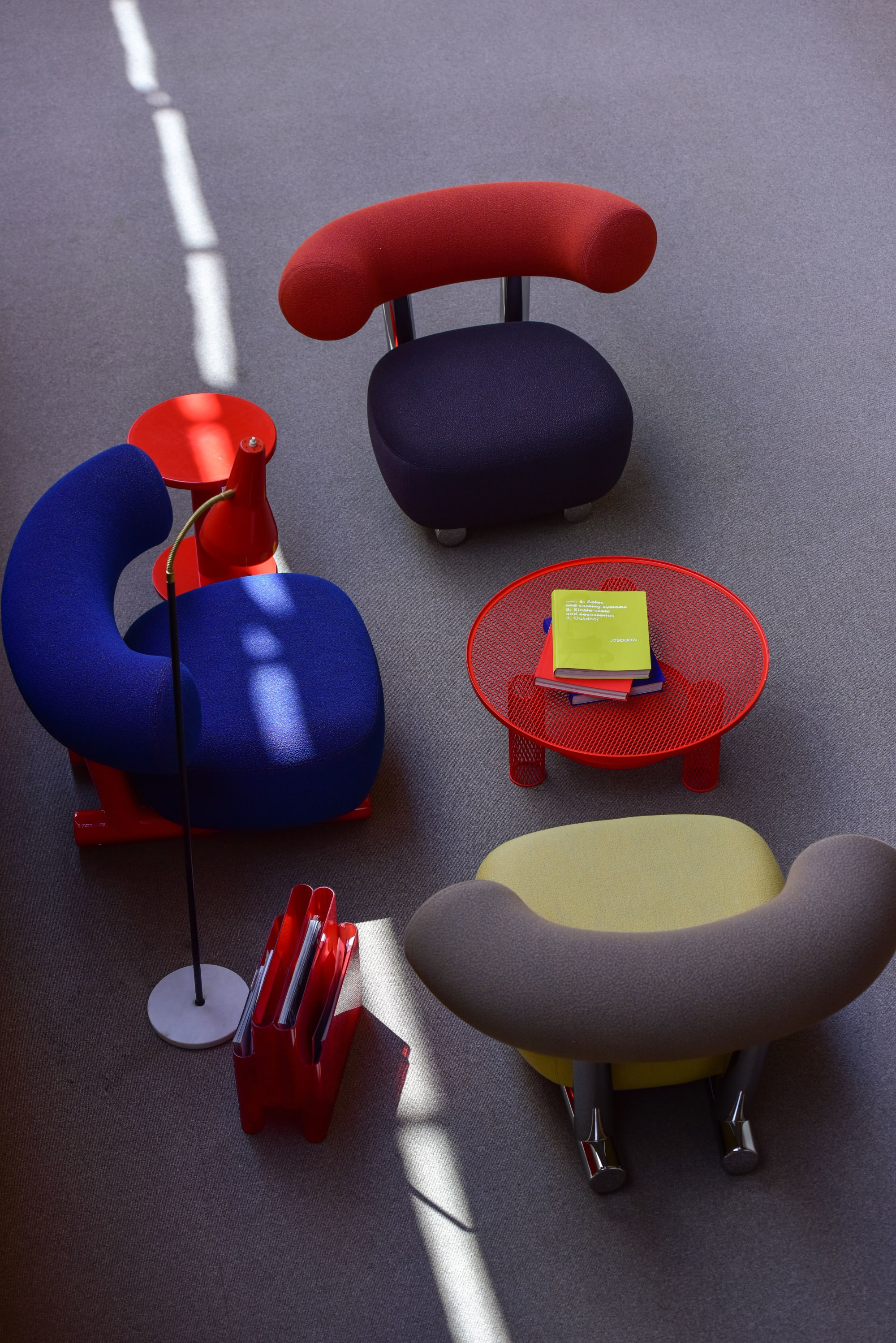 Red blue retro plush chairs