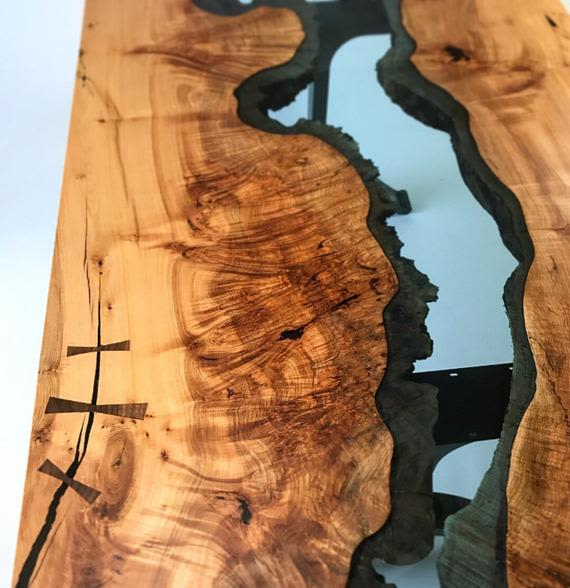 Long wooden river table detail