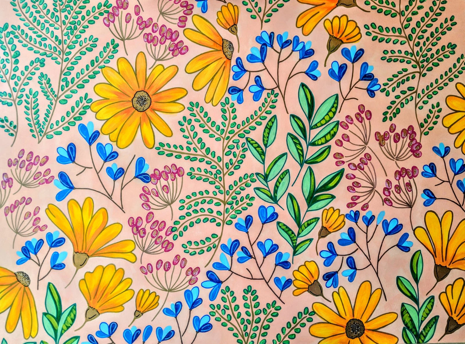 Bright multicolor floral painting