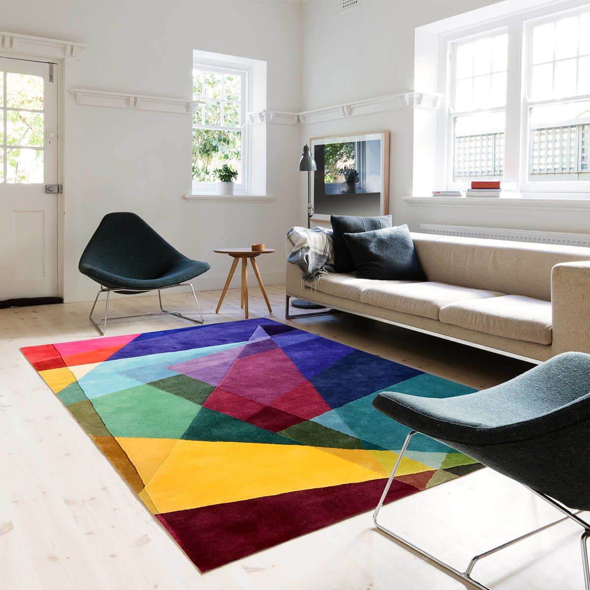 Vibrant Geometric Kaleidoscope Rug