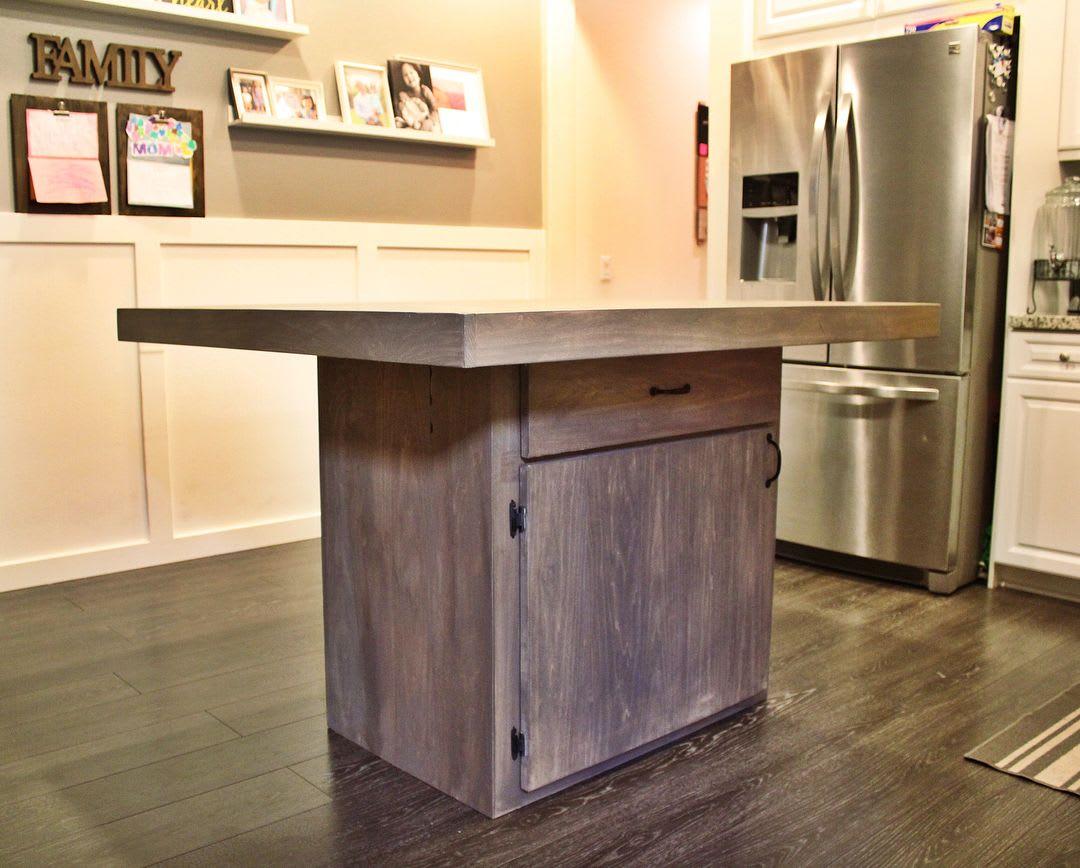 Ash wooden kitchen island
