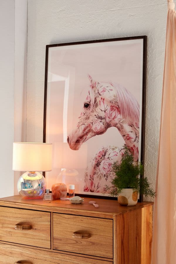 Horse made of pink flowers painting