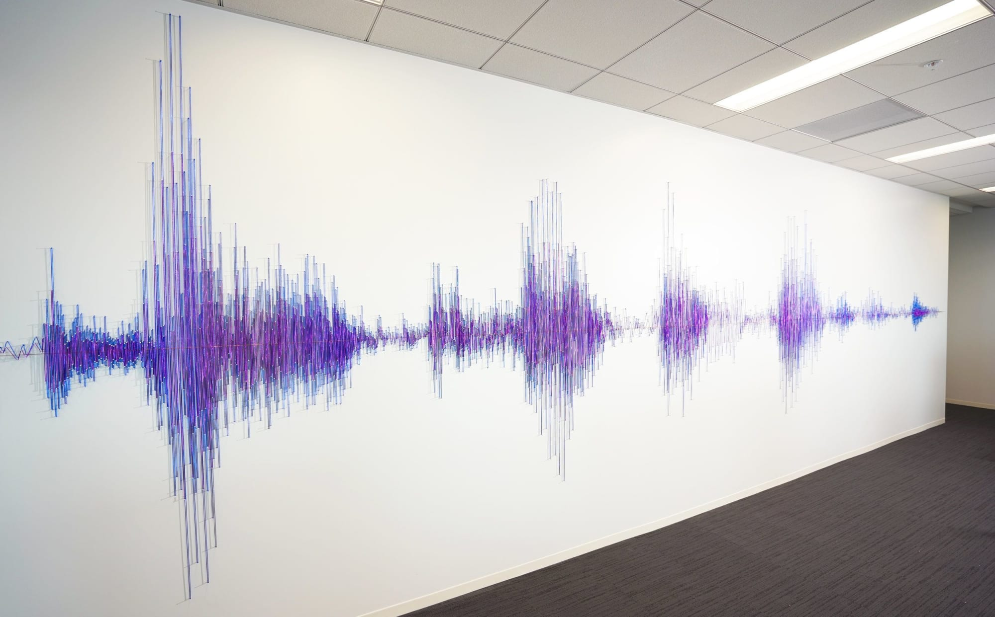 Fiber Sound Wave Wall Treatment in Blue and Purple