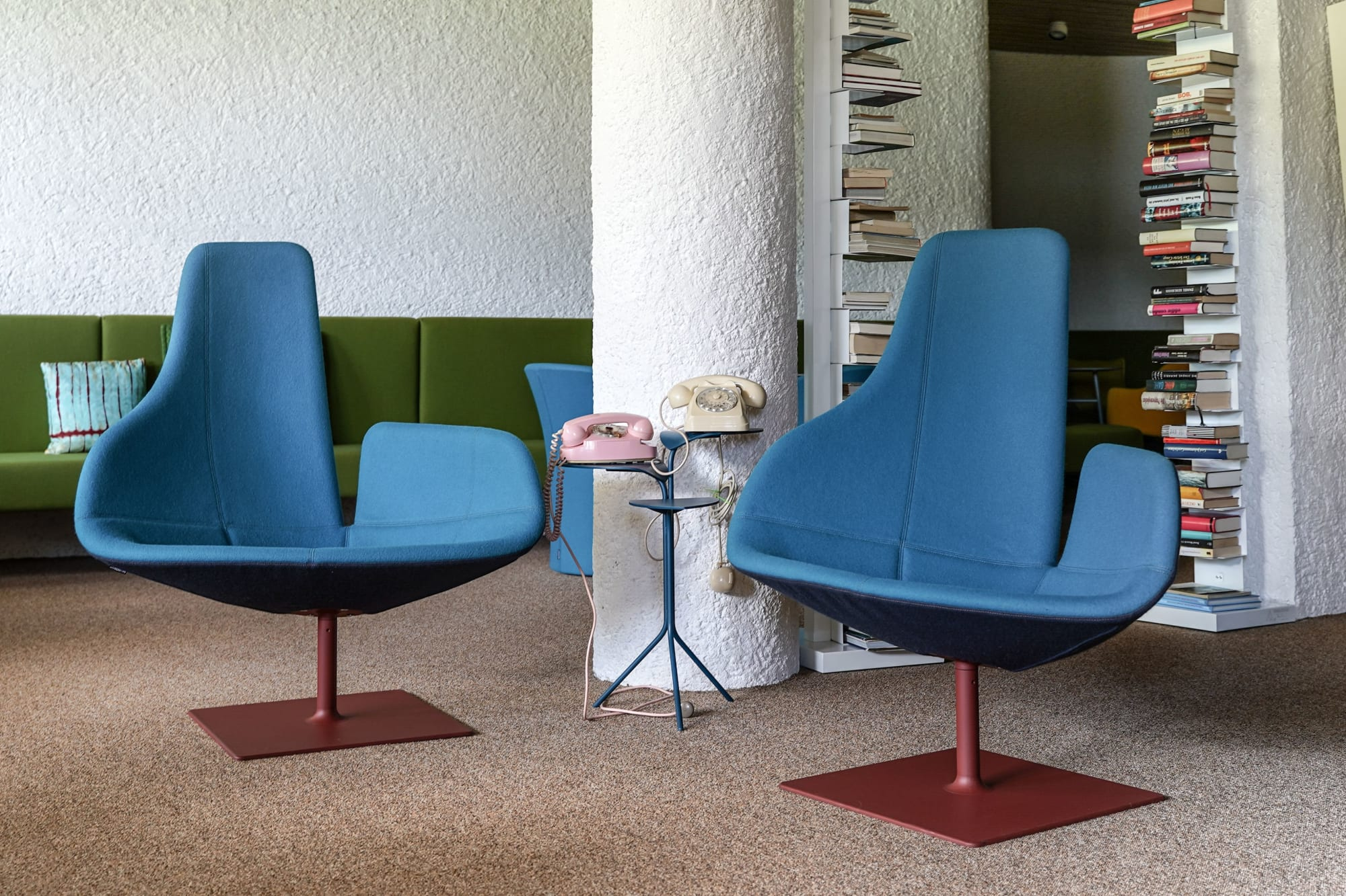 Modern retro funky blue chairs