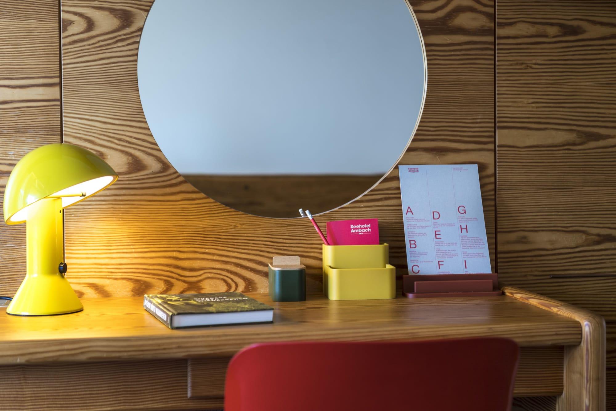 Yellow retro desk lamp