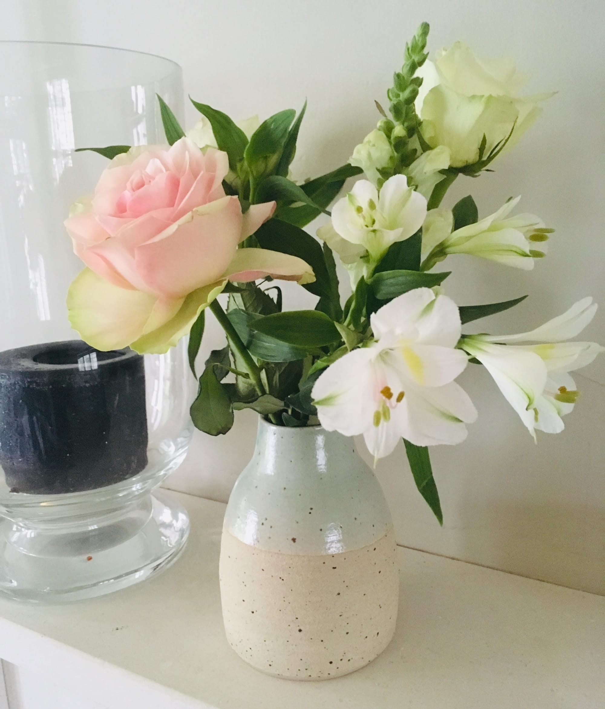 Subtle Speckled Vase in Light Pink and Faint Blue