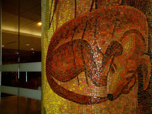"Public Mosaics by Joanne Hammer seen at Seattle-Tacoma International Airport, Seattle - ""The Naturalist's Day"""