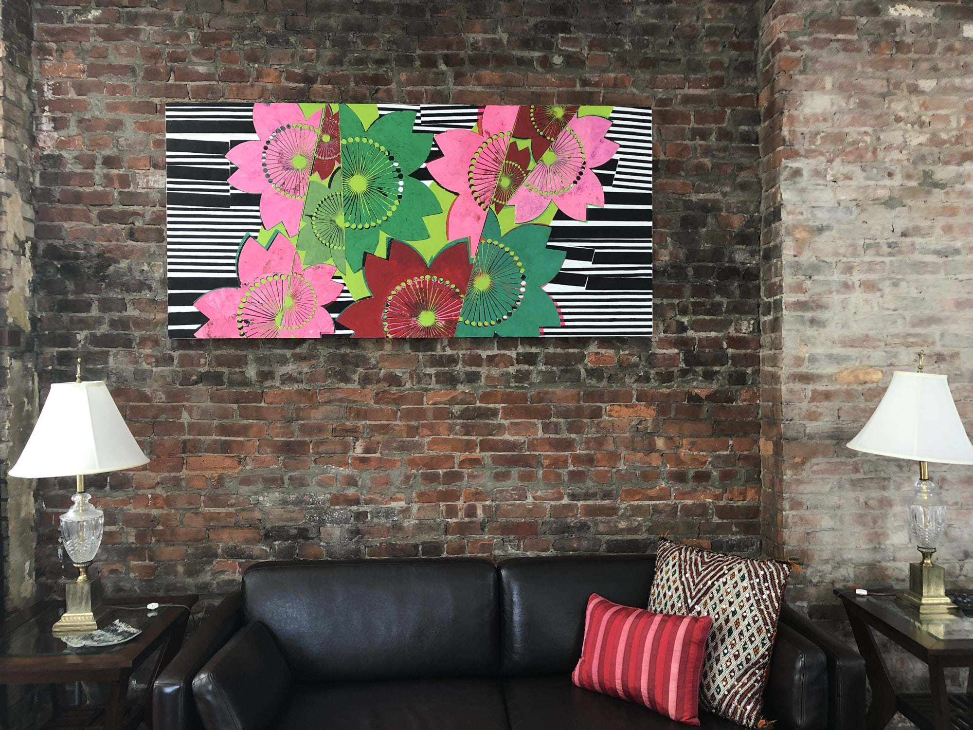 "Paintings by Margaret Lanzetta seen at Private Residence, New York - ""Chanteuse"" oil and acrylic on canvas mounted on panel, 36""  x 75"", 92 cm x 190 c"