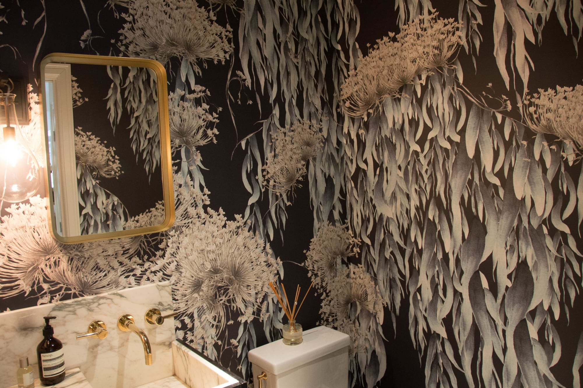 Wallpaper by Candice Kaye Design at East Village, Manhattan, New York, New York - Powder Room, East Village