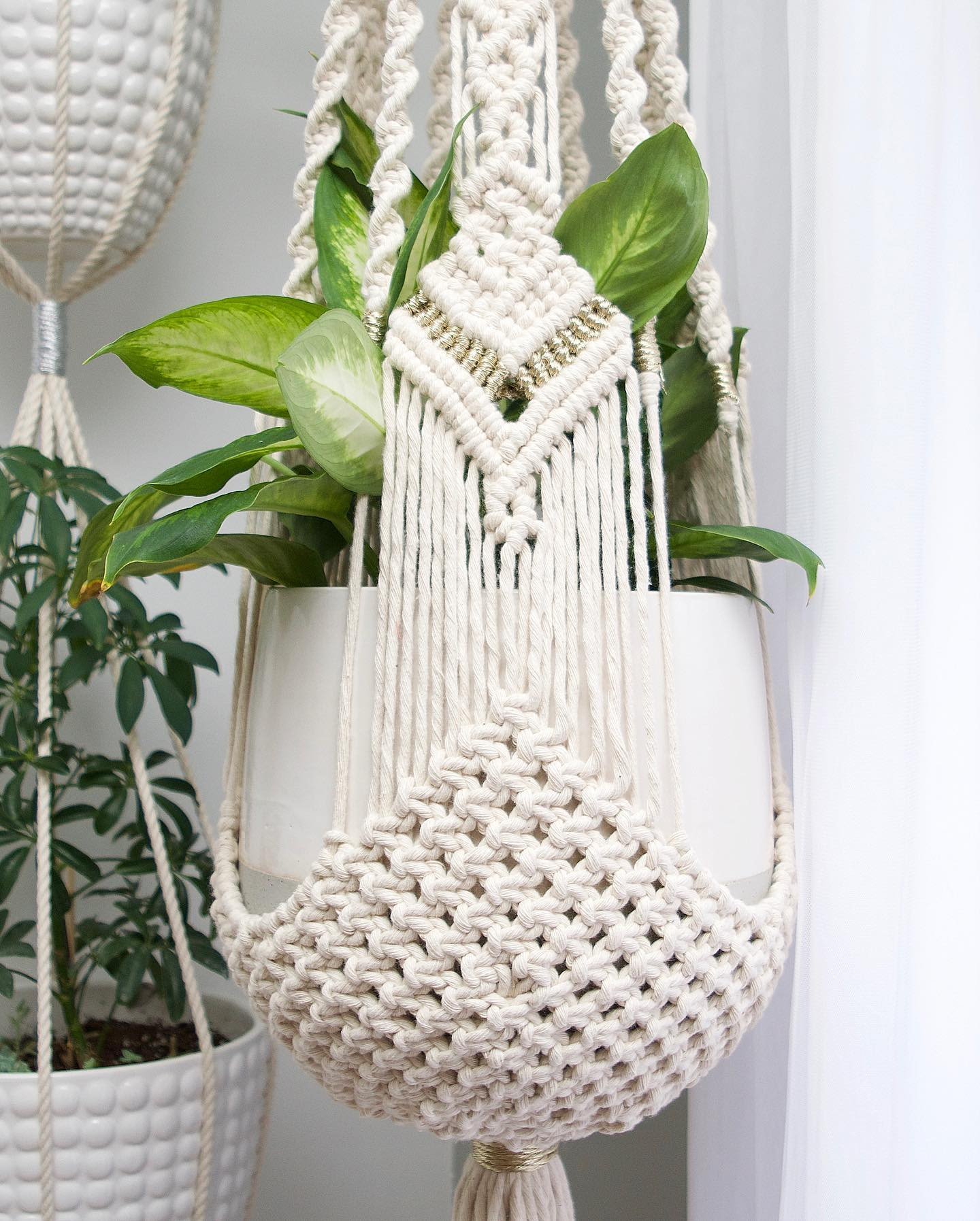 Vintage Style Macrame Plant Hanger By A Modern Take Fiber Art Seen At Private Residence Texas City Wescover