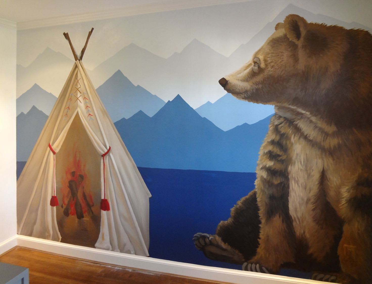 Murals by Nicolette Atelier seen at Private Residence - Indian Teepee & Bear Mural