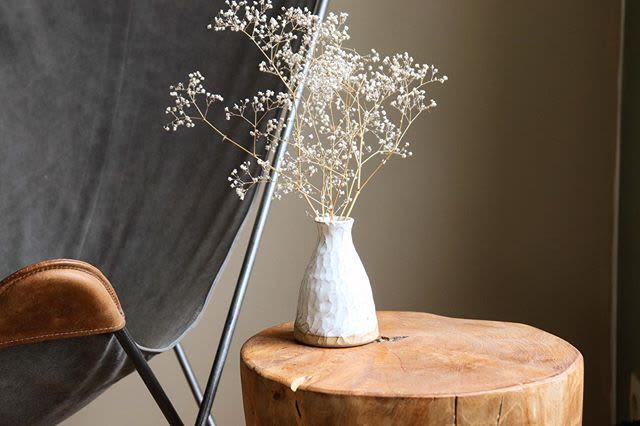 Textured Small White Vase