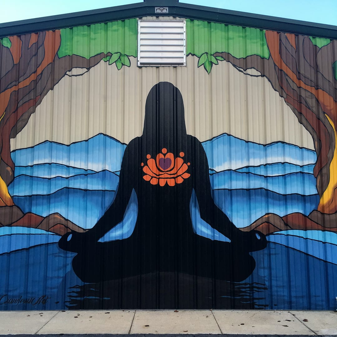 Outdoor mural of lotus position
