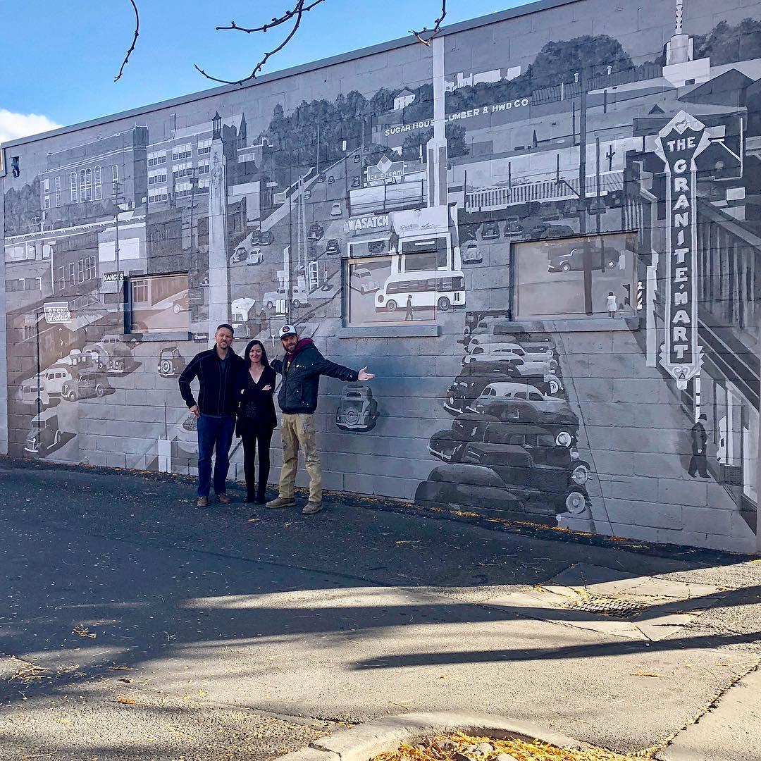 Murals by Josh Scheuerman seen at Market Source Real Estate, Salt Lake City - Sugar House, Utah 1940