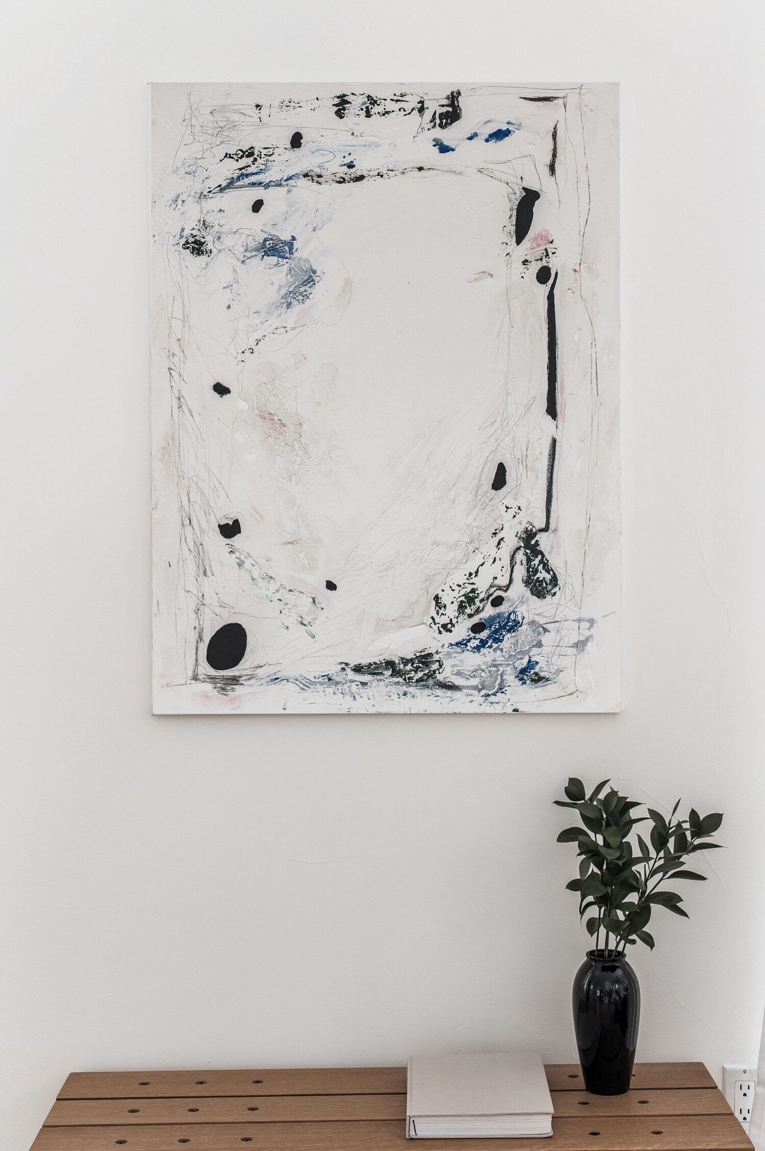 Mixed-Media Abstract Painting, White, blue and black