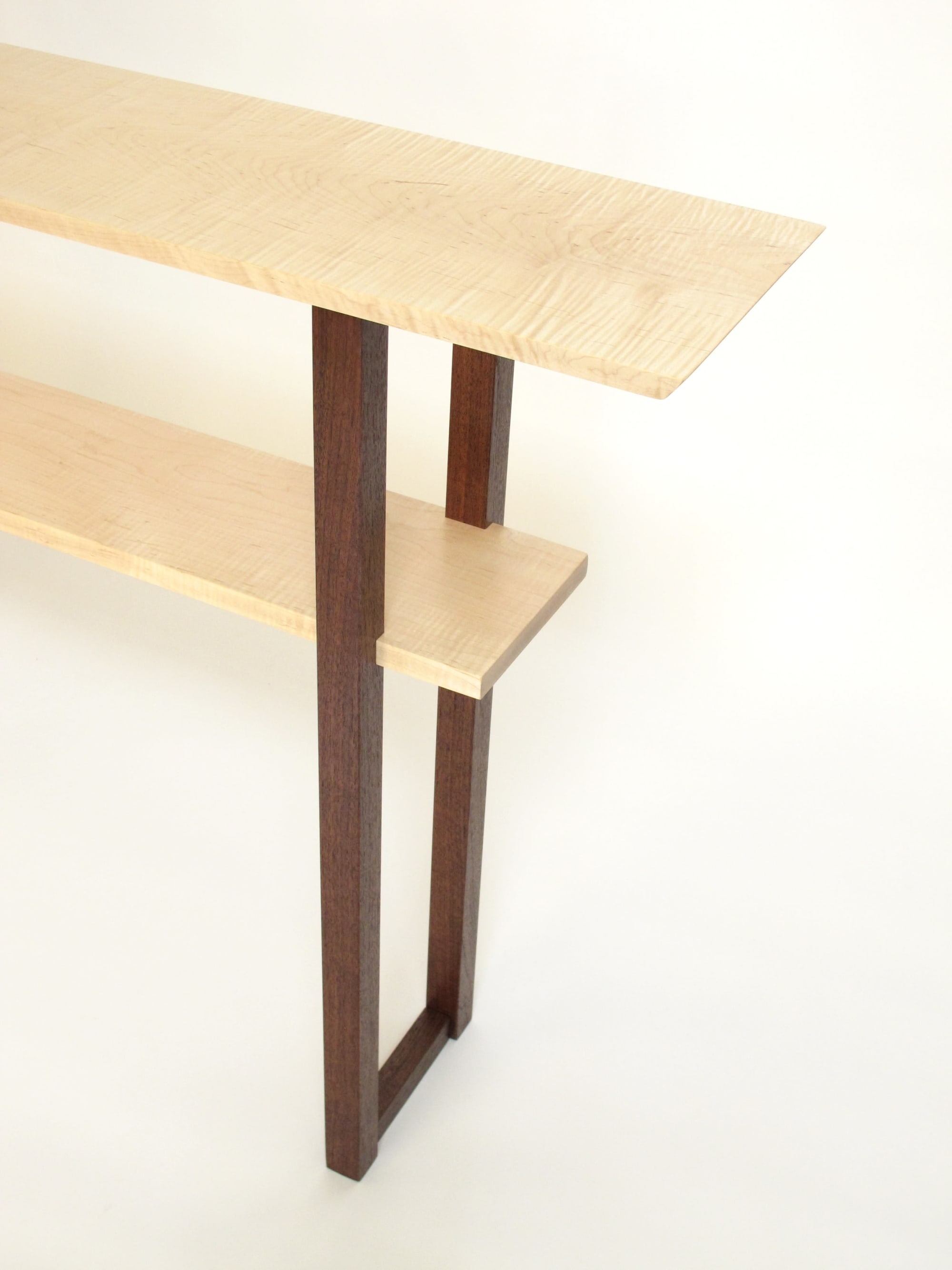 Tables by Mokuzai Furniture seen at Private Residence, Newburyport - Designer Console Table in Tiger Maple and Walnut