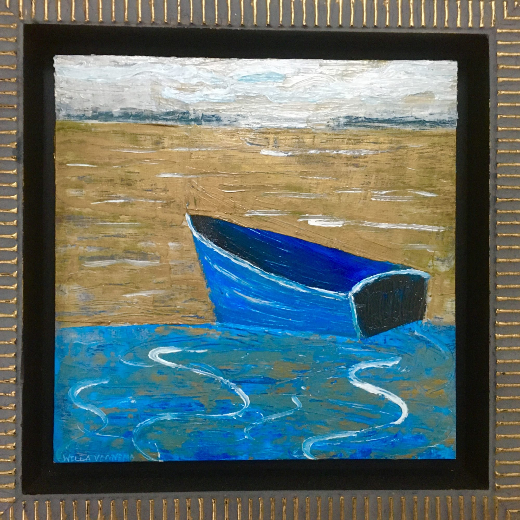Paintings by willa vennema seen at Private Residence, Swans Island - Row Boat at Rest