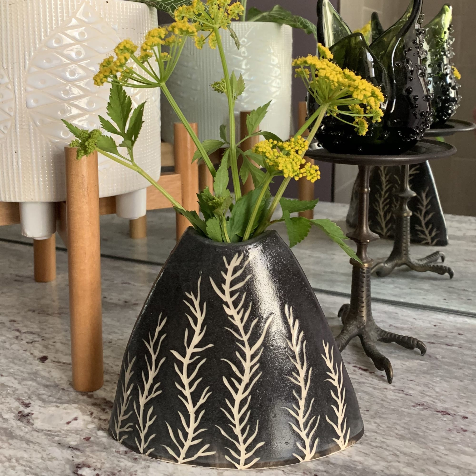 Black Cone Shaped Vase with Tan Plant Design