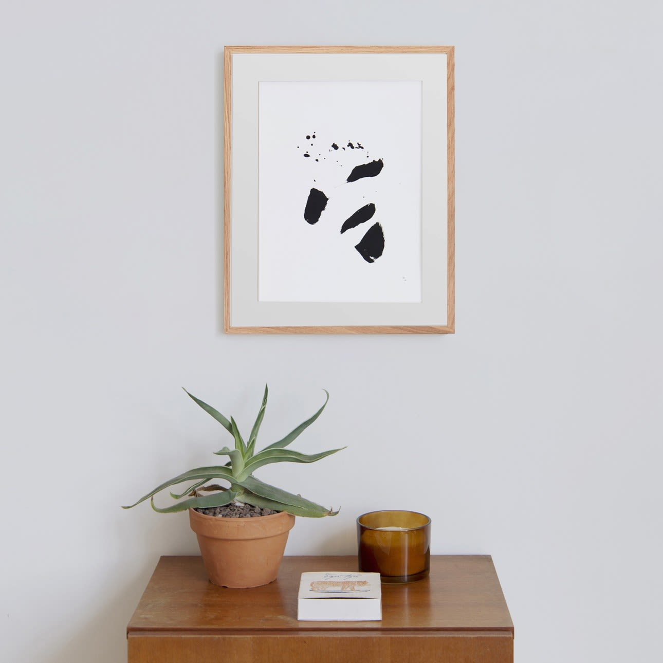 Black and White Abstract Black Splotch Painting