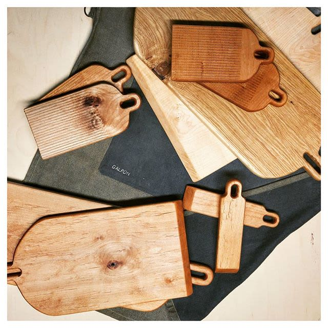 Wooden cutting boards and platters