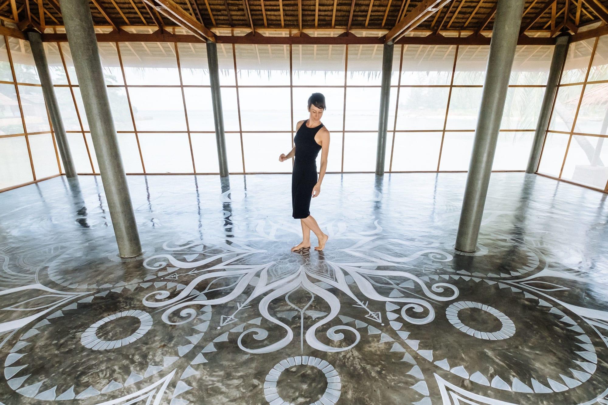 White mandala floor mural