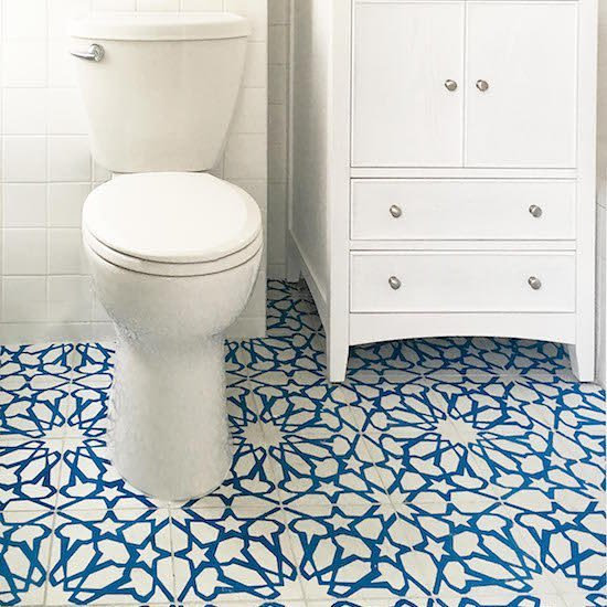 Blue star pattern tiles