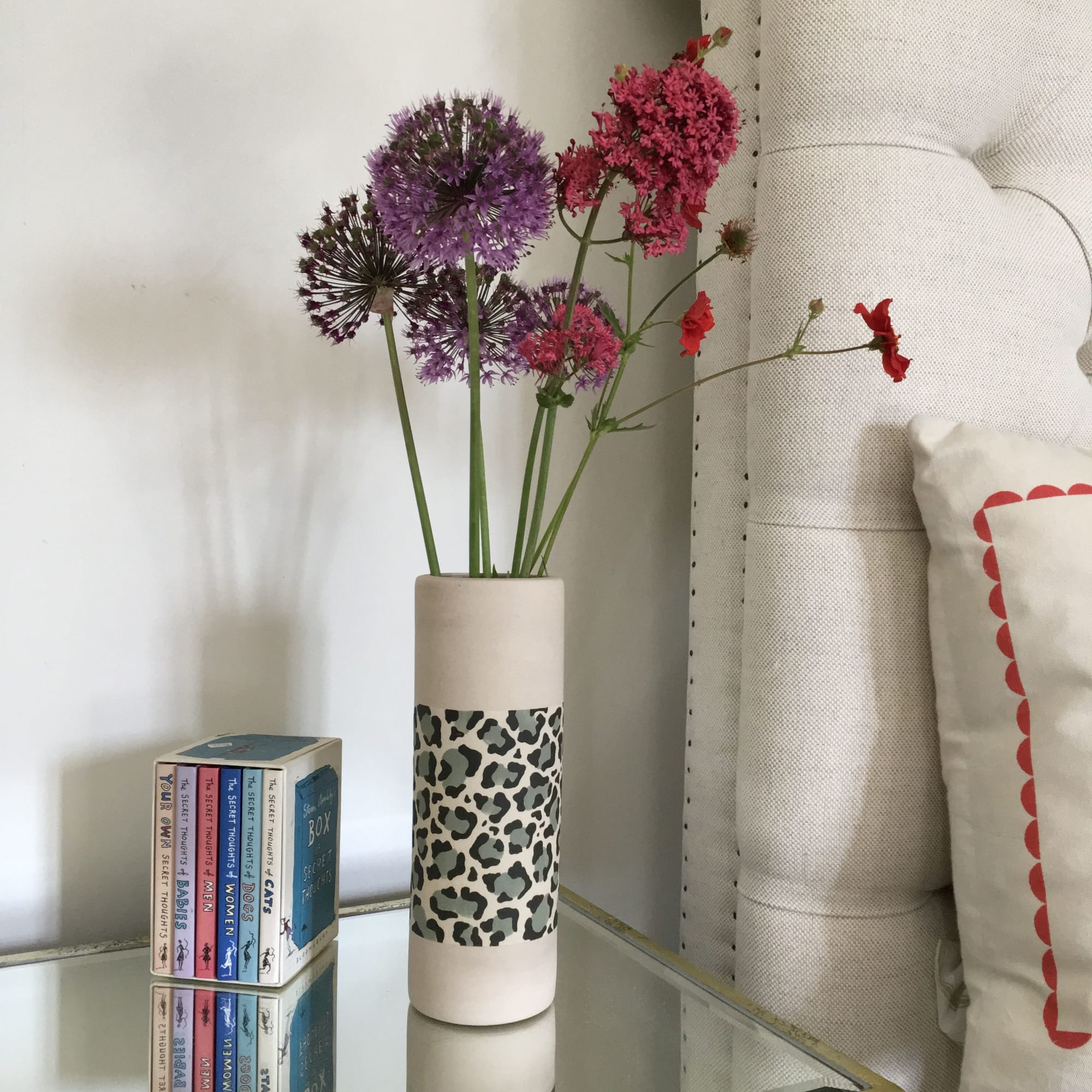 Clean Cylindrical Vase in Cheeta Print