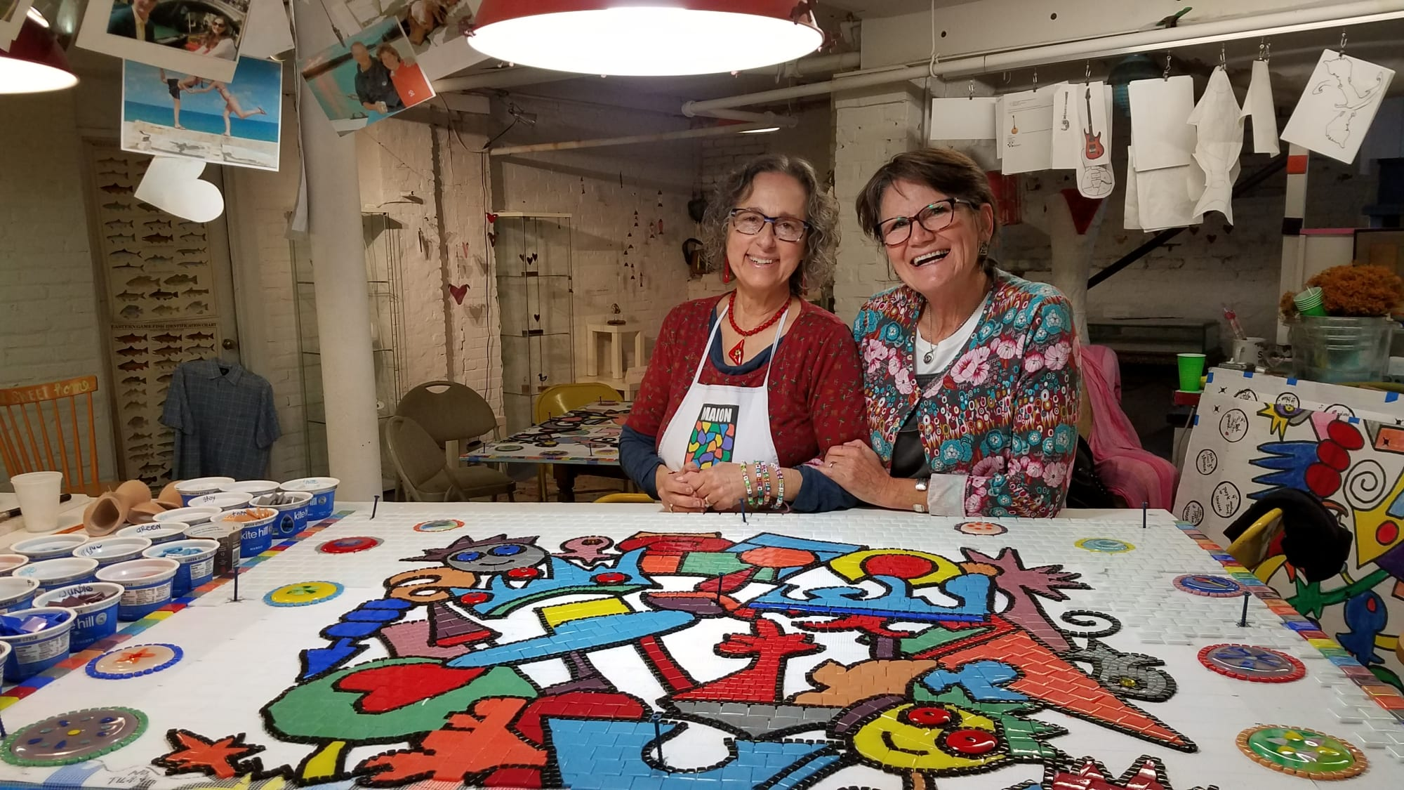Public Mosaics by Carol Krentzman seen at Court Street, Natick - Smiling Faces