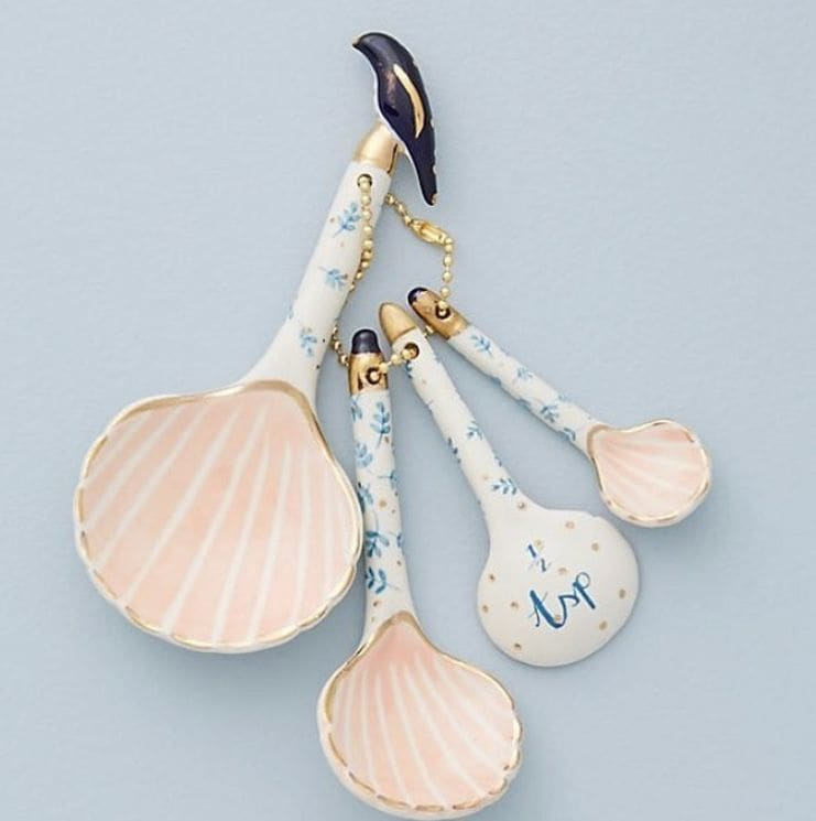 Painted Ceramic Sea Shell Measuring Spoon in Pink, Blue with Gold Accents
