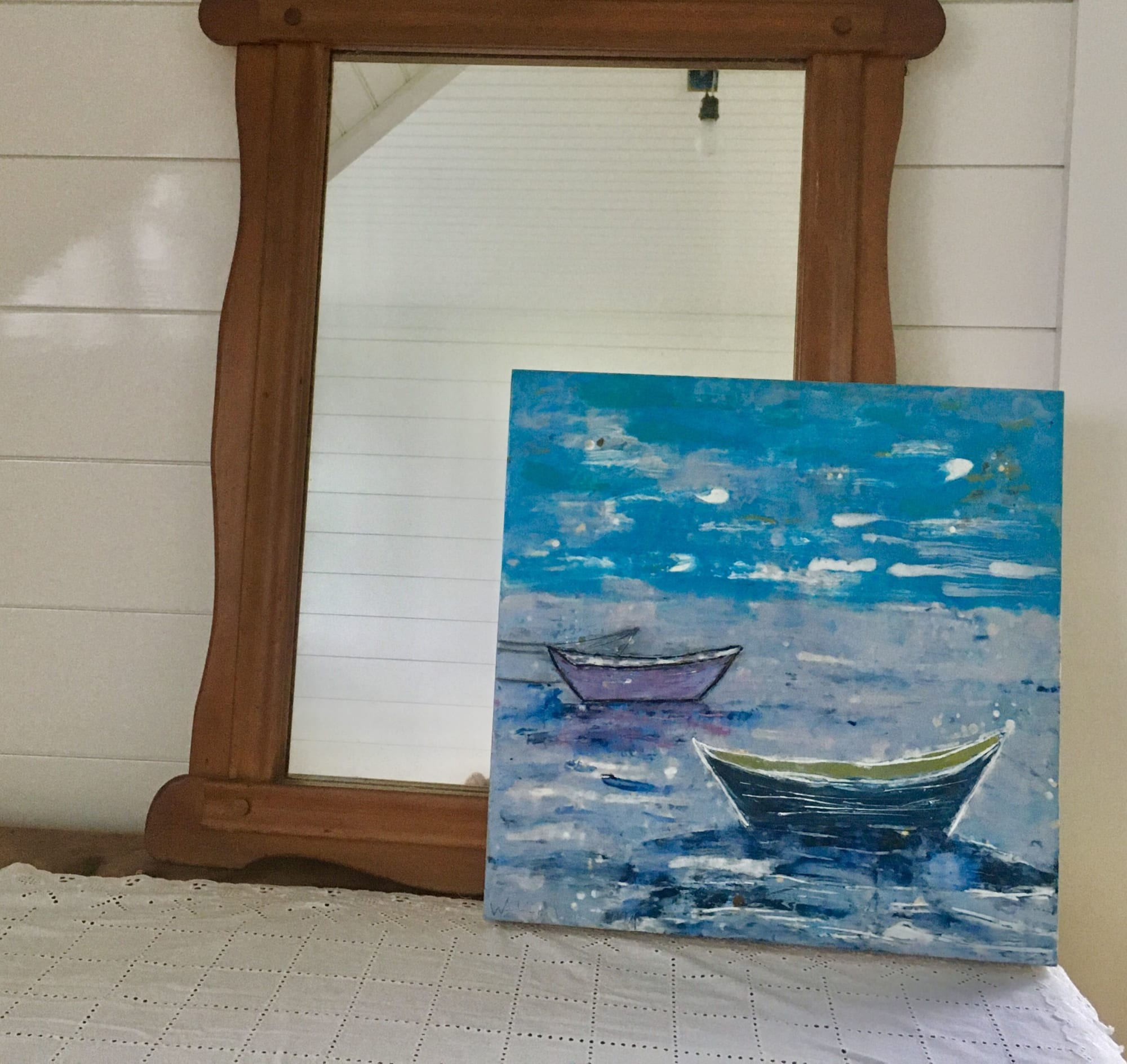 Paintings by willa vennema seen at Private Residence, Swans Island - Boat Series: Three Boats at Rest